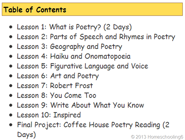 Table of Contents-Poetry