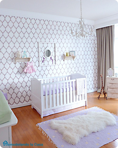 Baby girl nursery stenciled wall