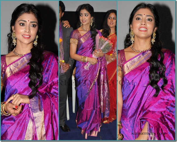 43e84e462ae700 Shriya_Saree. South Indian actress Shriya Saran in purple color traditional  uppada silk saree with gold border and self printed work paired ...