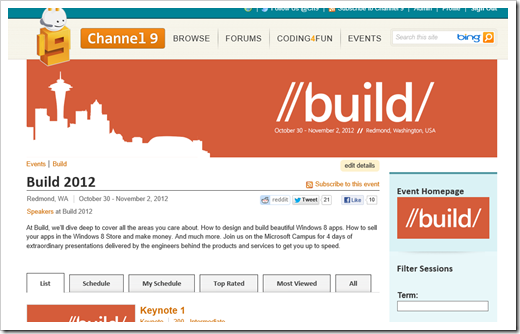 The Channel 9 //build/ 2012 Event Site Is Live - DZone