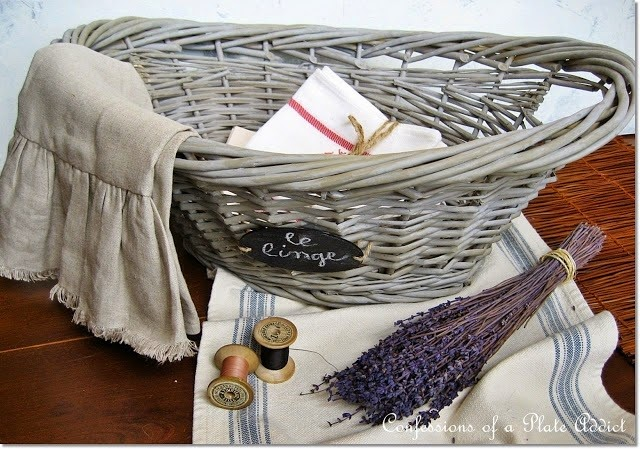 CONFESSIONS OF A PLATE ADDICT DIY Grey Willow French Laundry Basket