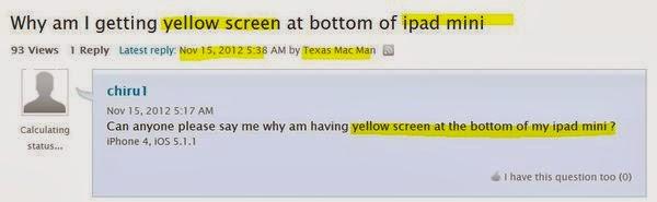 iPad mini 可能有黃斑