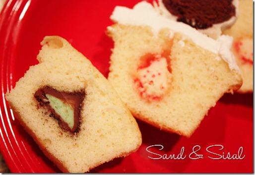 Hershey kisses inside Christmas ornament cupcakes