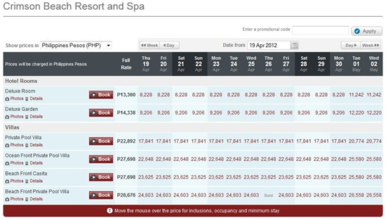 Crimson Resort and Spa Rates