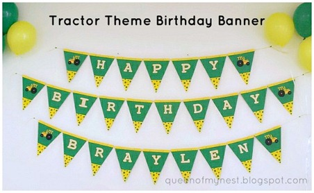 Tractor Theme Birthday Banner w title 1