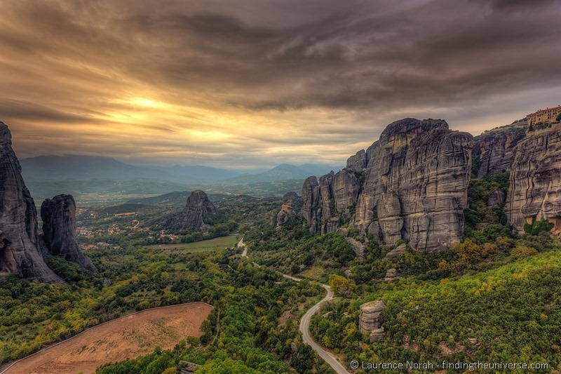 Sunset Meteora monastery rock formation greece