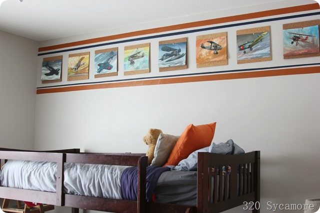 boys room stripes and airplane prints