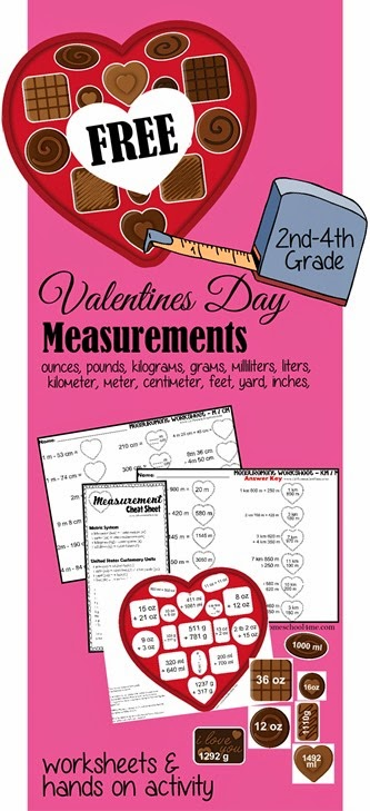 FREE Valentines Day Measurement Worksheets for Kids - includes ideas for making it hands on math practice for kids to learn ounces, pounds, kilograms, grams, mililiters, liters, kilometer, meter, centimeter, feet, yard, inches,and more. LOVE the CHEAT sheet and then chocolate box measurement activity for kids. Perfect for math centers, homeschool, extra practice, and more for 2nd grade, 3rd grade, 4th grade, 5th grade, and 6th grade students.