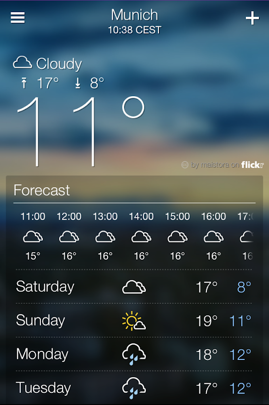 Yahoo! Weather forecast detailed