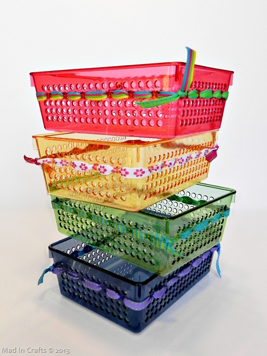 Ribbon Decorated Dollar Store Bins
