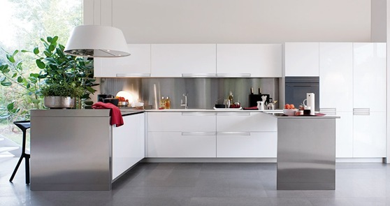 White-and-Polished-Silver-Kitchen