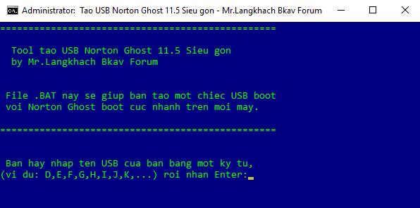 Norton Ghost 11.5 boot cho USB gọn nhẹ và tiện lợi