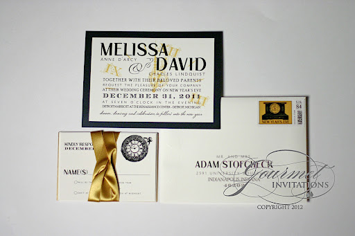 New Years Eve Wedding Invitation: Melissa + David: Clock Theme New Year's Eve Wedding