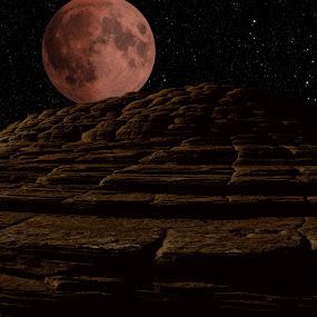 Blood Moon over Petrified Sand Dunes by Mj Schaer - Landscapes Deserts ( moon, mountains, desert, parks, landscapes )