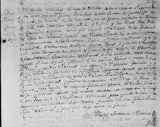 Diego Gonzalez, FamilySearch, Salinas Vcitoria, Death 1762 pg 86.jpg