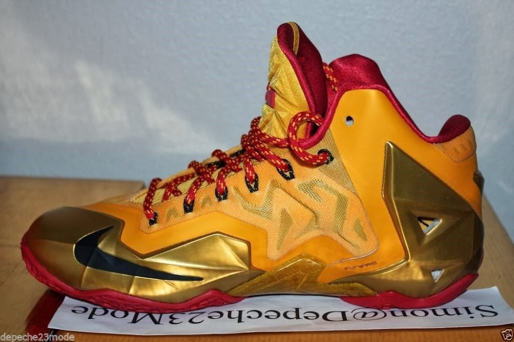 4e815ce5548c2 ... Nike LeBron XI 11 Fairfax Lions Away PE 8211 Detailed Look ...