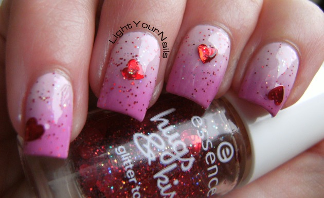 Valentine's pink gradient and hearts glitters