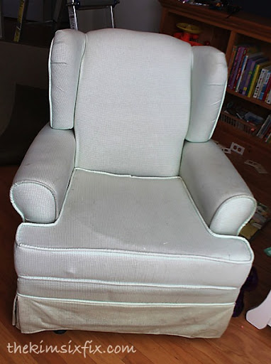 Chair before & How to Paint Upholstery (Latex Paint and Fabric Medium) - The Kim ...