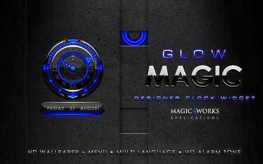 【免費娛樂App】Blue Glow Magic Clock Widget-APP點子