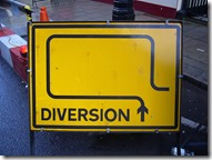 diversion road sign