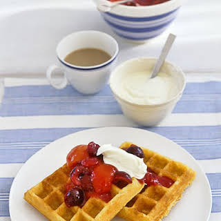 Cornmeal Waffles with Apricot-Cherry Compote.