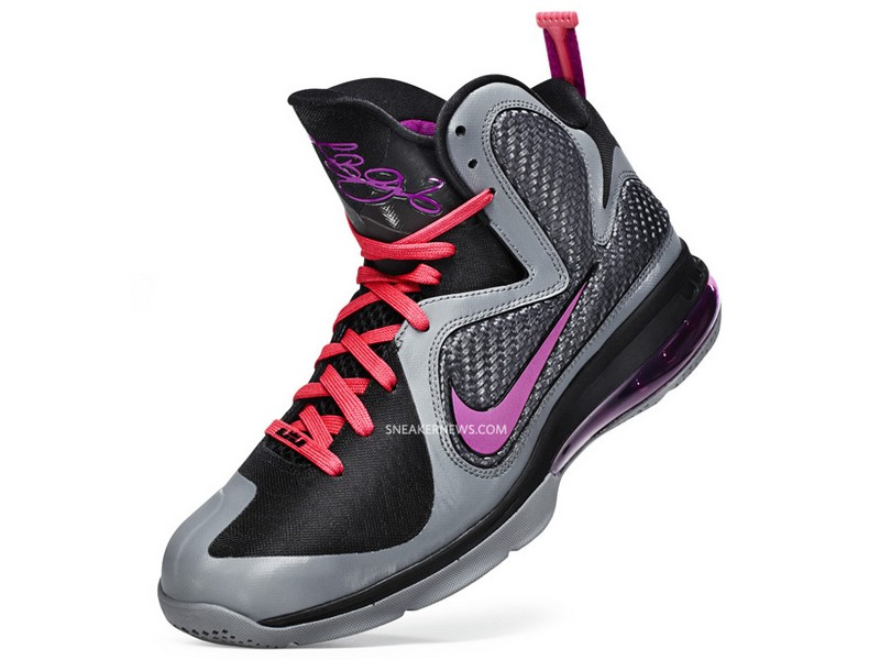 big sale e79d2 44d36 469764-002 Cool Grey Vivid Grey-Black-Cherry. First Look NIKE LEBRON 9 in  BlackGreyCherryPurple aka Miami Nights ...