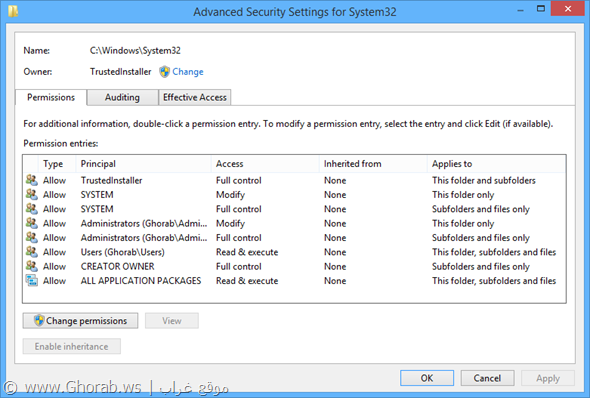 AdvancedSecurity System32 Settings