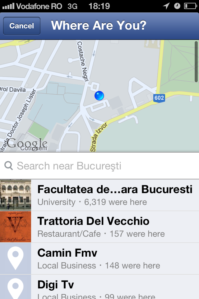 Facebook for iOS now with Google Maps