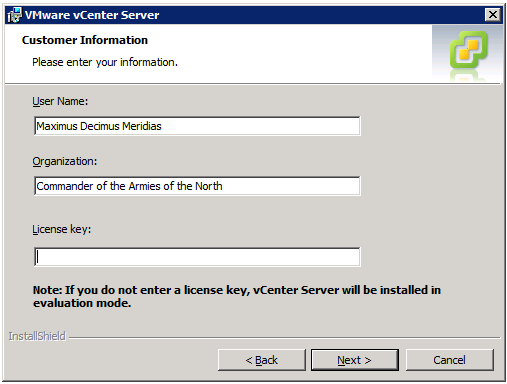 VMware vCenter Server Installer - Customer Information