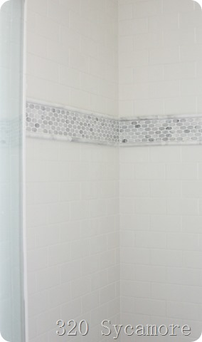 tile stripe in shower with subway tile