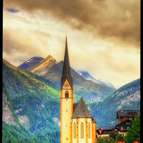 Großkirchheim by Petr Klingr - Buildings & Architecture Places of Worship ( church, hdr     alps     mountains     clouds     sun )