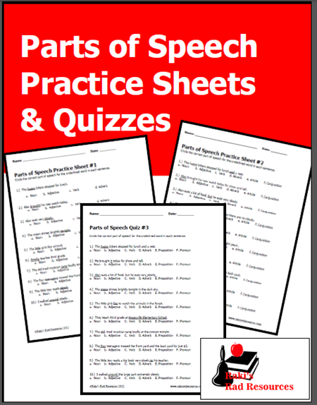 Classroom Freebies: Parts of Speech Practice Sheets & Quizzes from ...
