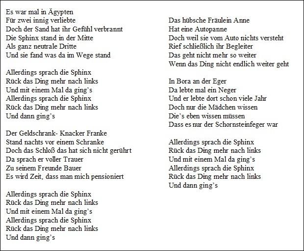 Ich Ging Wie Ein ägypter Songtext