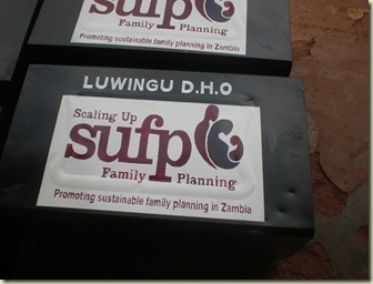 Project logo on box of family planning supplies- handpainted