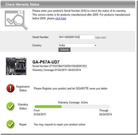 GIGABYTE Tech Daily: Really cool GIGABYTE mobo warranty checker