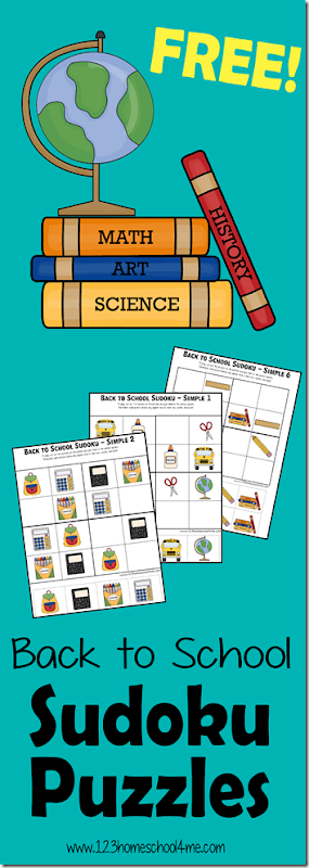 FREE Back to School Sudoku puzzles for kids - There are 2 levels (Preschool / Kindergarten / 1st grade) and (2nd grade / 3rd grade / 4th grade). SO CUTE!! Love these no prep back to school worksheets