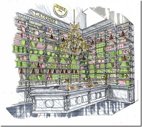 rendering of corner-Laduree Milan -