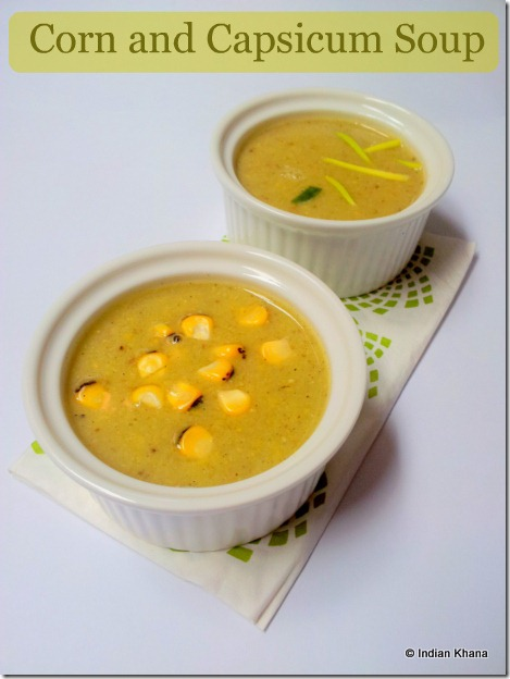 Fresh Corn and Roasted Capsicum Soup Recipe