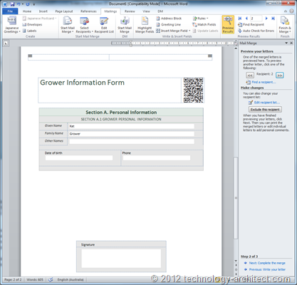 Preview mail merge in MS Word
