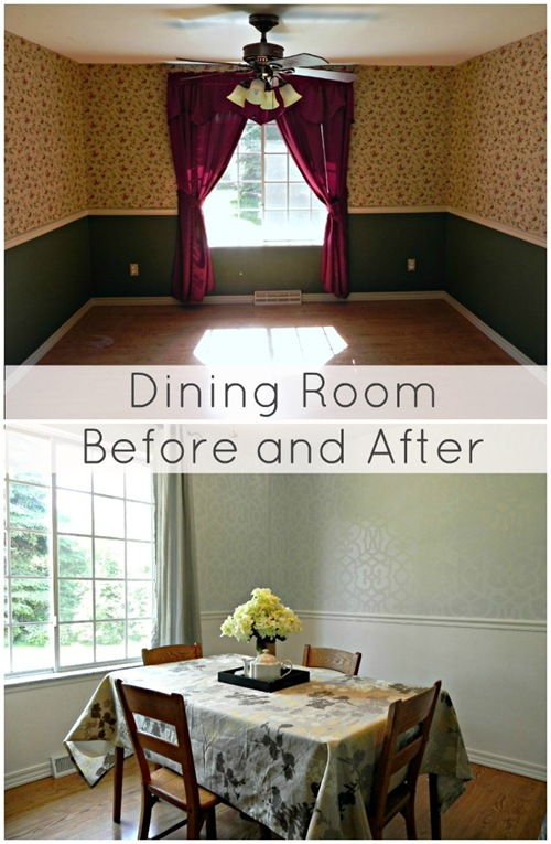stenciled dining room before and after