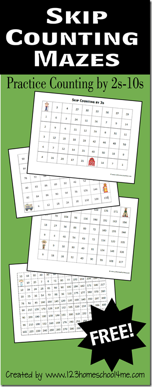 Skip Counting Mazes 2s-10s