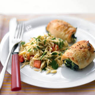 Spinach-and-Brie Chicken with Tomato Orzo.