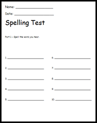 Classroom freebies too read write spelling test for Free printable spelling test template