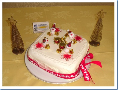 Our Xmas Party Cake kindly made by Peter Littlejohn and iced by his mum for us. It was also Peter Littlejohn's Birthday on 15th December and so we were able to celebrate this auspicious occasion in the usual manner and some scrummy cake to boot!