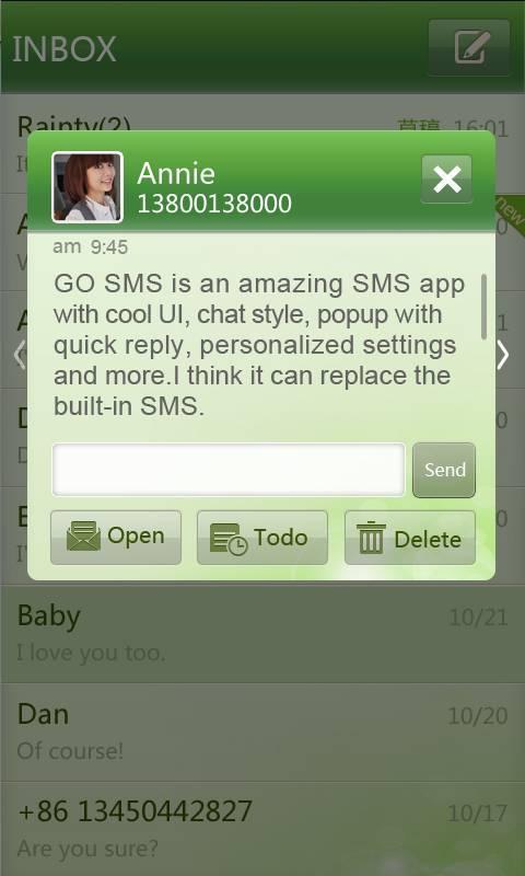 GO SMS Pro simple green theme screenshot #1