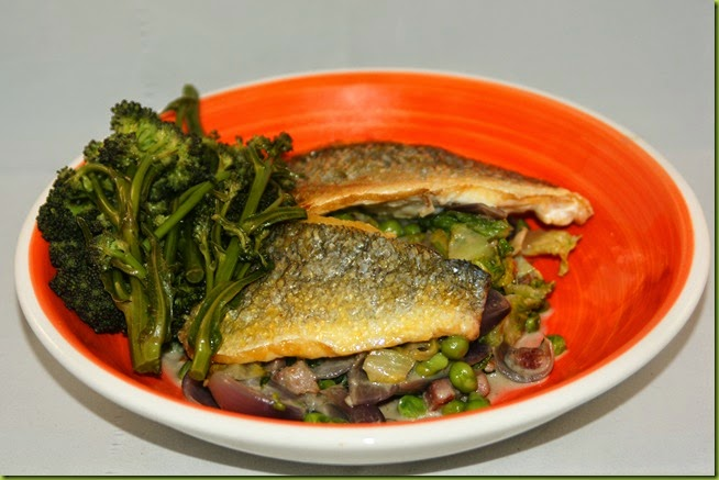pan fried sea bream with bacon peas and lettuce