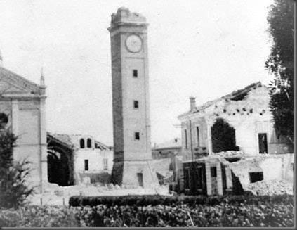 Campanile di Copparo danneggiato dal bombardamento del 30 Gennaio 1945