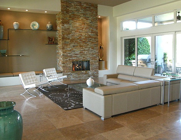 Stone-fireplace-in-a-modern-living-room