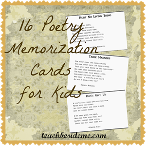 Poetry Memorization Cards from Teach Beside Me