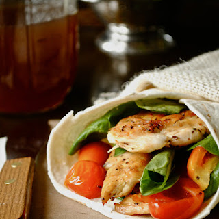 Chicken, Spinach, and Tomato Wrap.